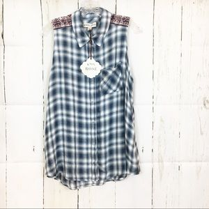 Plaid Sleeveless Collared Button Front Blouse
